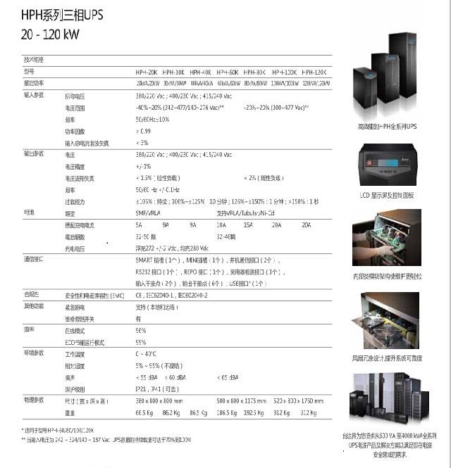 台达UPS12博12betHPH系列(20-120KVA)