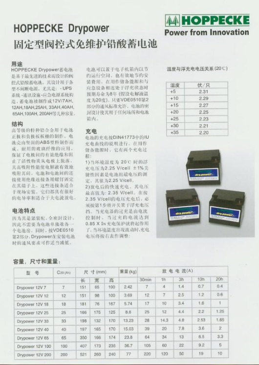 荷贝克蓄电池Drypower系列